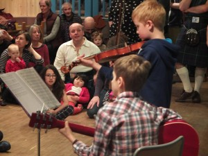 Tom, Andrew & audience at family ceilidh 2014